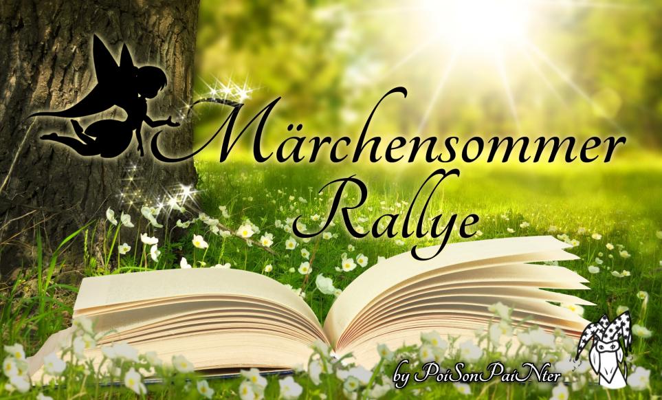 """Das Märchensommer Rallye Banner zeigt eine Scherenschnitt-Fee, die Glitzer auf den verschnörkelten Schriftzug """"Märchensommer Rallye"""" über einem aufgeschlagenen Buch streut. Alles vor einer grünen Wiese neben einem Baum und Sonnenstrahlen im Hintergrund."""