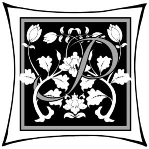 Ein P um dessen Arme Ranken geschlungen sind auf schwarzem Grund und mitgrauen graden Rahmen und darum noch ein weißer eckiger Rahmen.